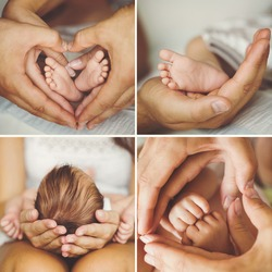 Close-up of baby's hands and feet collage. Mother holding baby. Baby's feet. collage newborn. baby in mom's hands