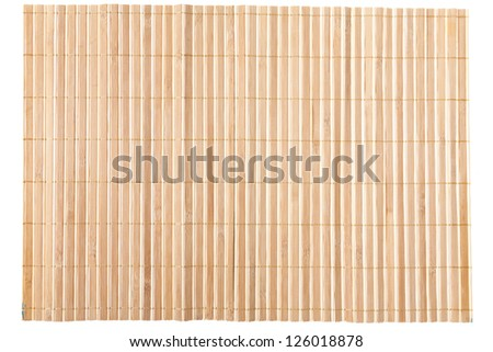 Close up of bamboo mat background isolated on white