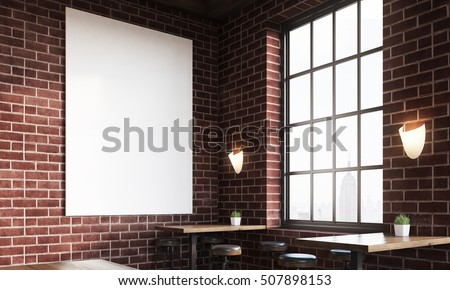 Close up of bar interior with stools, tables and large vertical poster on brick wall. Concept of pub culture. 3d rendering. Mock up. Toned image