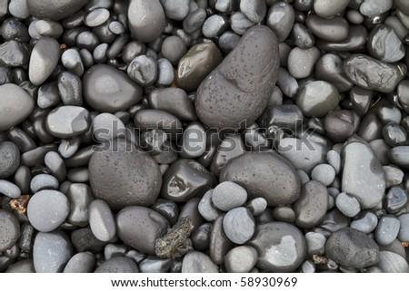 Close up of basalt pebbles on an Icelandic beach