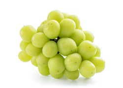 Close up of beautiful a bunch of Shine Muscat green grape isolated on white background, clipping path cut out.