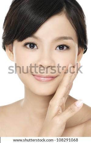 Close up of beautiful asian woman face