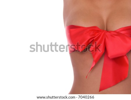 Close  up  of beautiful breasts with red ribbon