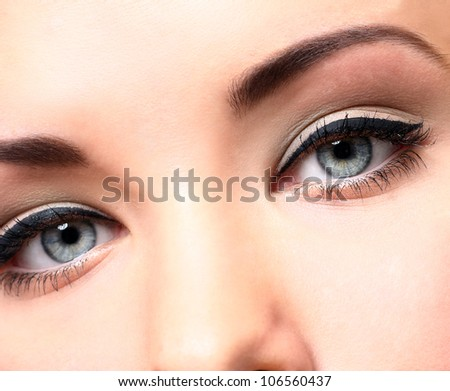 Close up of beautiful eyes with makeup