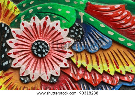 Close up of beautiful floral painting work on Indian trucks