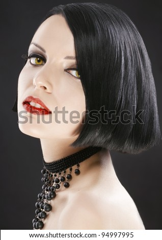 close-up of beautiful girl with a fashionable haircut bob