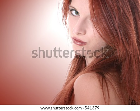 stock photo : Close Up of Beautiful Seventeen Year Old Redhead Teen