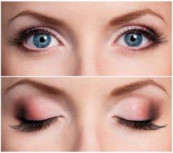 Close up of beautiful woman blue eyes