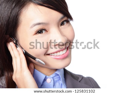 close up of beautiful woman customer support operator with headset and smiling isolated on white background, asian woman