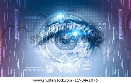 Close up of beautiful woman eye with hud interface and lines of code around it. Graphs and holograms Concept of ai, hi tech and face recognition. Toned image double exposure #1198441876