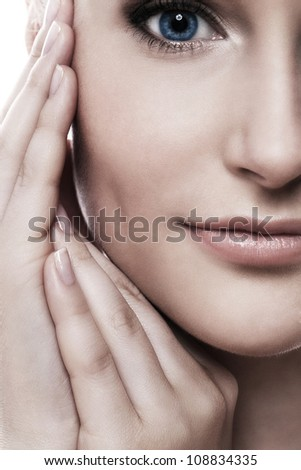 Close up of beautiful woman face with perfect skin