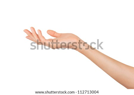 Close-up of beautiful woman's hand isolated on white background. Palm up #112713004