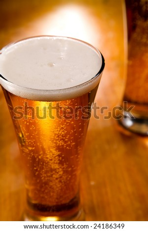 Close-up of beer glass, selective focus