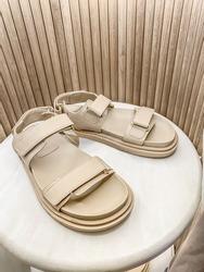 Close up of beige sandals