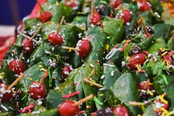 close up of betel quid with cherry