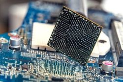 close up of BGA ball grid array technology footprint on electronic board, macro