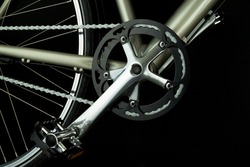 Close up of bicycle parts related to the crank