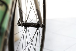 Close up of  bicycle wheel, racing wheel