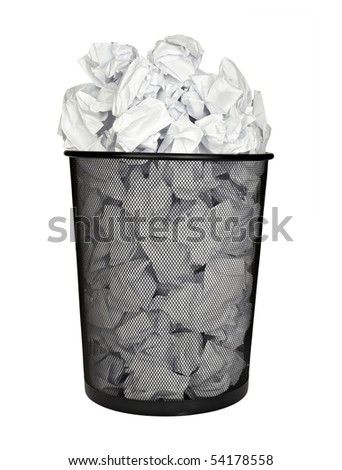 close up of bin full of waste paper on white background with clipping path