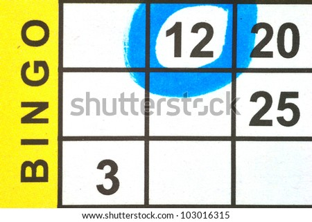 Close up of Bingo Card with one number circled