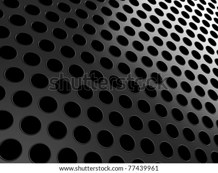 Close-up of black aluminum grill over black background