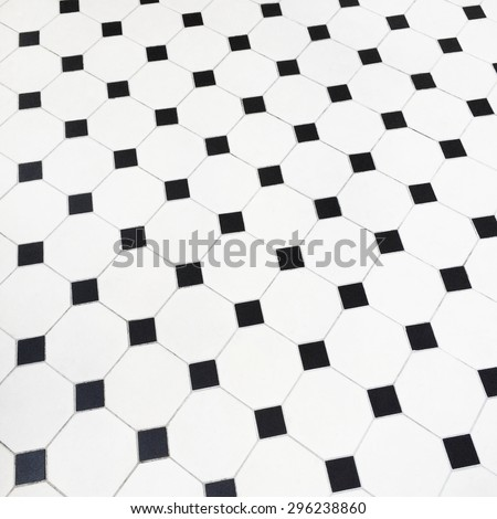 Close-up of black and white ceramic tiles floor.