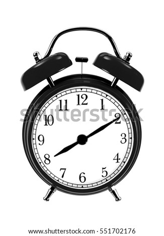 close up of black bell clock (alarm clock) isolated on white background