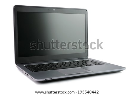 Close up of black laptop over white background #193540442