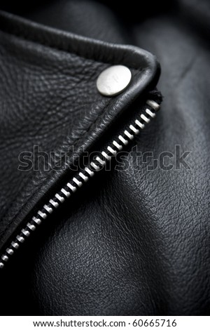 close-up of black leather jacket details