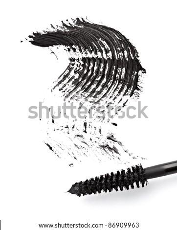 close up of black mascara on white background