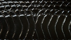 Close up of black snake texture. Dark reptile skin background.