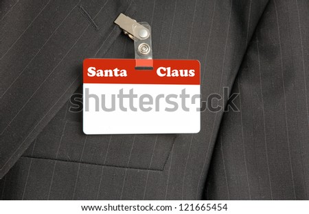 Close Up of Black Suit with Santa Claus ID Card