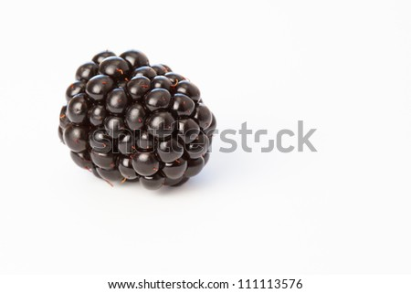 Close up of blackberry laying on white background