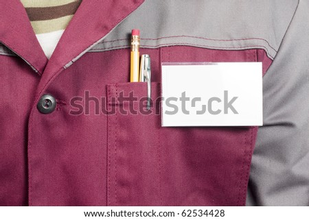 Close-up of blank name tag on service man uniform