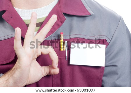 Close-up of blank name tag on service man uniform and OK sign