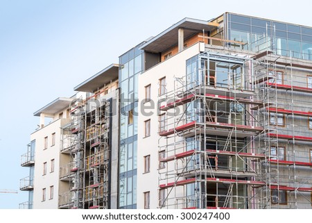 Close up of block of apartments under construction