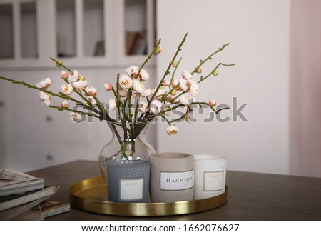 Close-up of blooming spring twigs in a vase on coffee table, next to a set of candles with the words 'harmony' and 'enjoy'. Spring mood in interior, hello spring, cozy atmosphere, spring is in the air Stockfoto ©