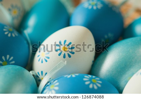 Close up of blue and white easter eggs