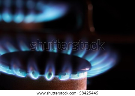 Close up of blue flames from gas kitchen range.