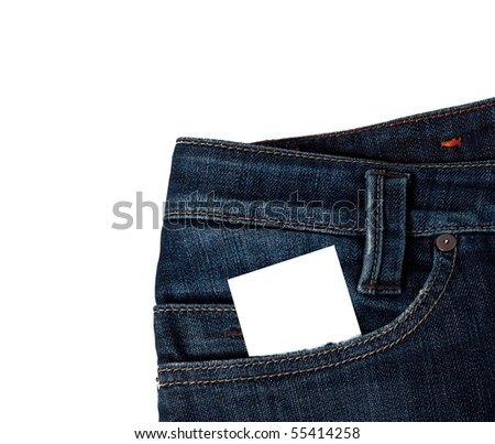Close up of blue jeans with a blank white card in the pocket isolated on white
