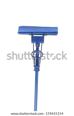 Close up of blue mop with sponge. Isolated on a white background.