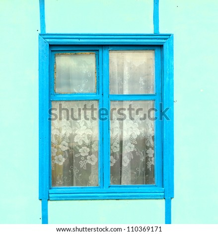 close up of blue window - stock photo