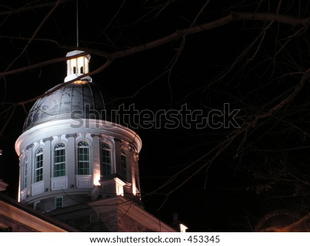 Close up of Bonsecours market  dome in old Montreal, Quebec,Canada - night picture