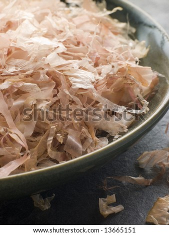 Close up of Bowl of Dried Bonito Flakes