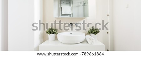 Close-up of bowl sink with shelf above it. On the unit two plants in a vase and folded towel #789661864