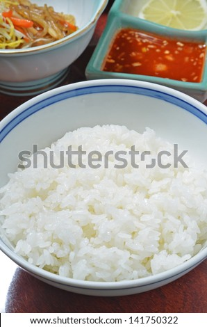 Close up of bowls of white rice - stock photo