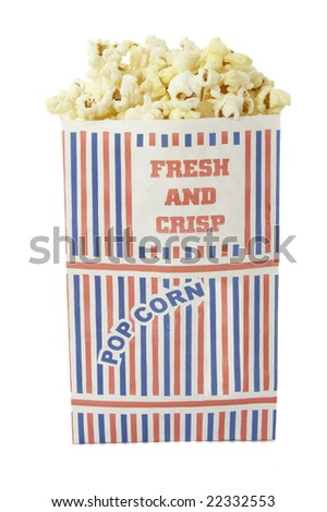close up of box of popcorn on white background with clipping path