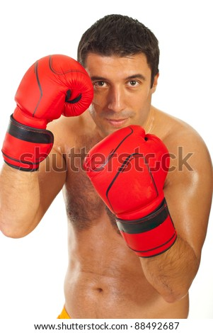 Close up of boxer man in action holding hands  up in boxing gloves  isolated on white background,selective focus on red  boxing gloves