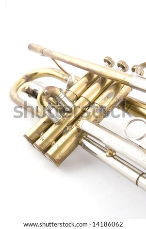 Close up of brass vintage trumpet #14186062