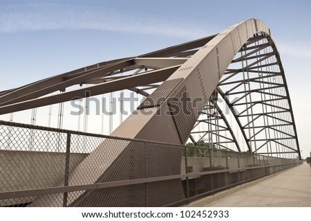 Close-up of bridge with bicycle pedestrian lane